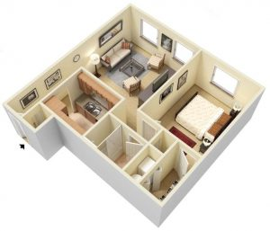 Example one bedroom floor plan at Montgomery Club Apartments